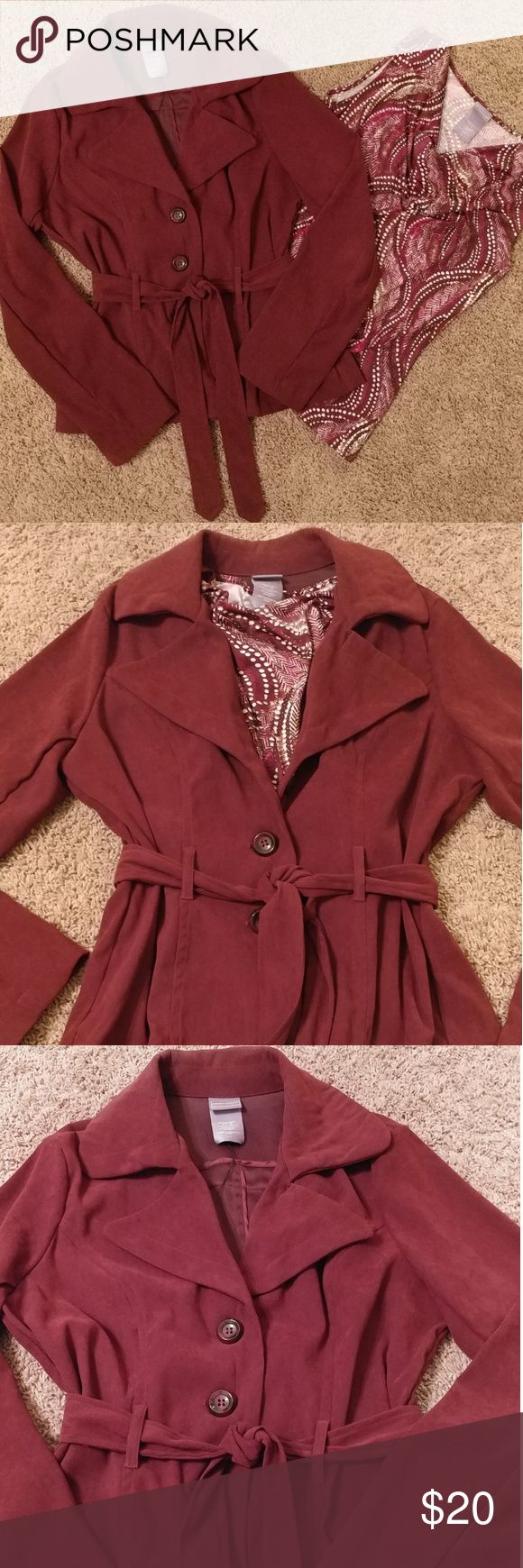 Matching jacket and shirt This matching set is right on trend for fall. The beautiful deep maroon color is the perfect compliment to any color dress pants or jeans. The tie front jacket can be worn several different ways with the shell or without. The choice is yours! Laura Scott Jackets & Coats Blazers