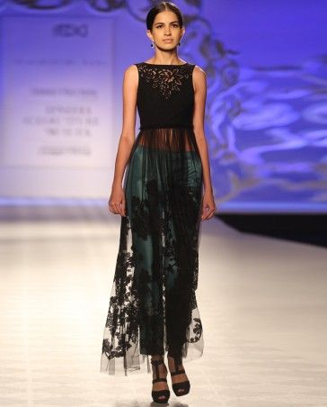 Black Dress with Sheer Flare and Trousers - The Fashion Week Trends We Love - Editor's Corner