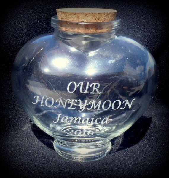 Honeymoon Jar  Sand Jar Glass Jar Engraved by BPLaserEngraving