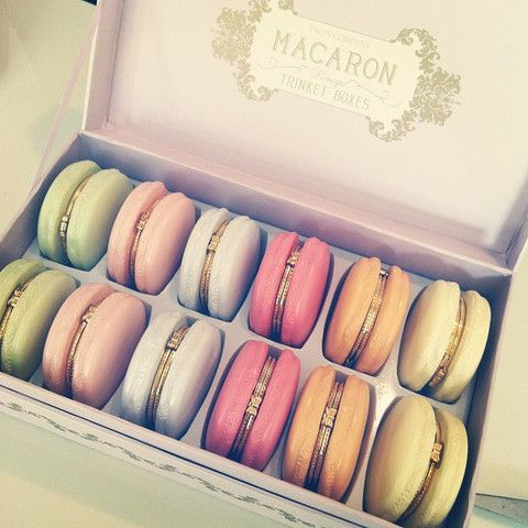 Macaroon Trinket Boxes. Good place to store rings if need to remove them. Nice gift @ $120 per doz or $10 ea.: