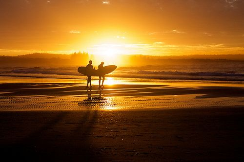 Surfers Byron Bay sunset