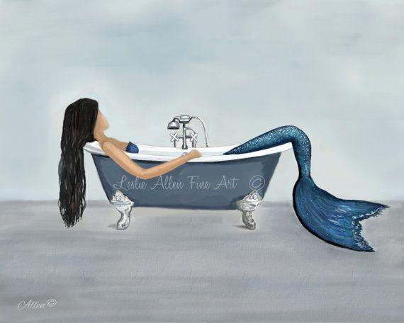 Mermaid Art Print Mermaid Painting Mermaid by LeslieAllenFineArt