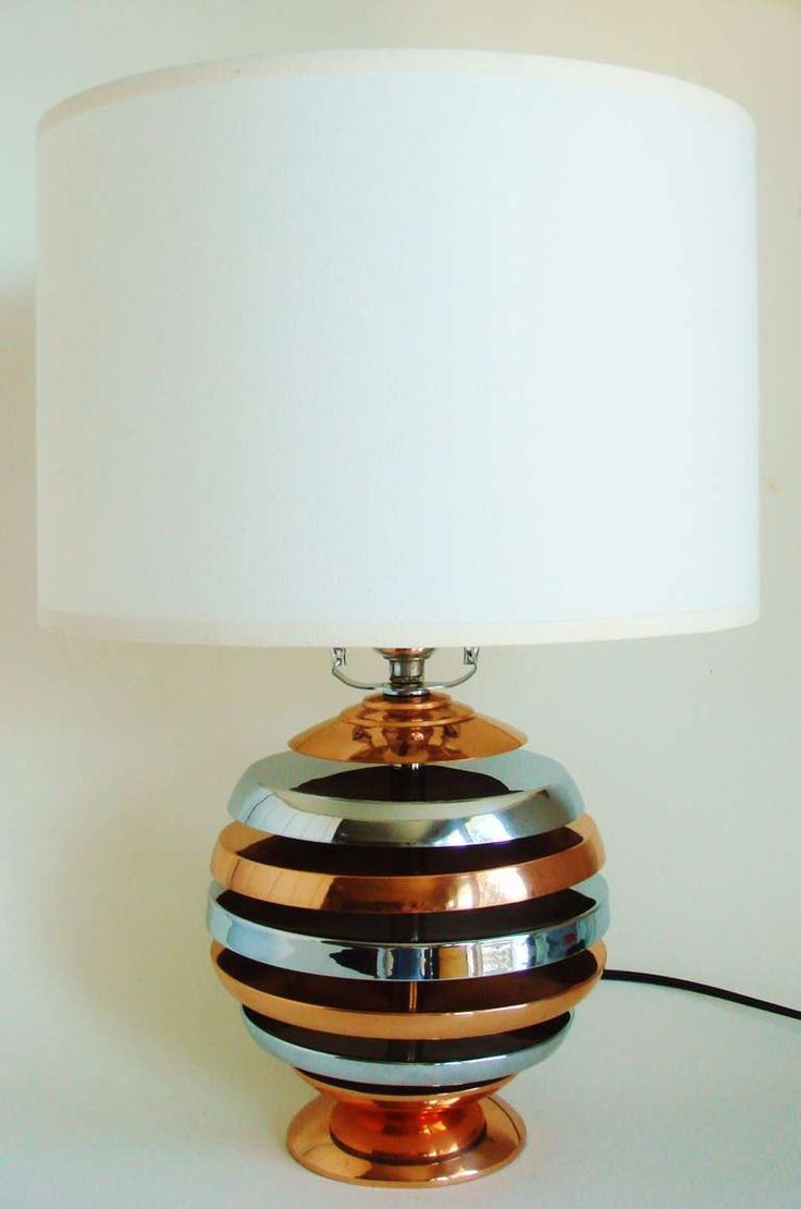 This american art nouveau table lamp is no longer available - American Art Deco Or Machine Age Copper And Chrome Plated Metal Table Lamp