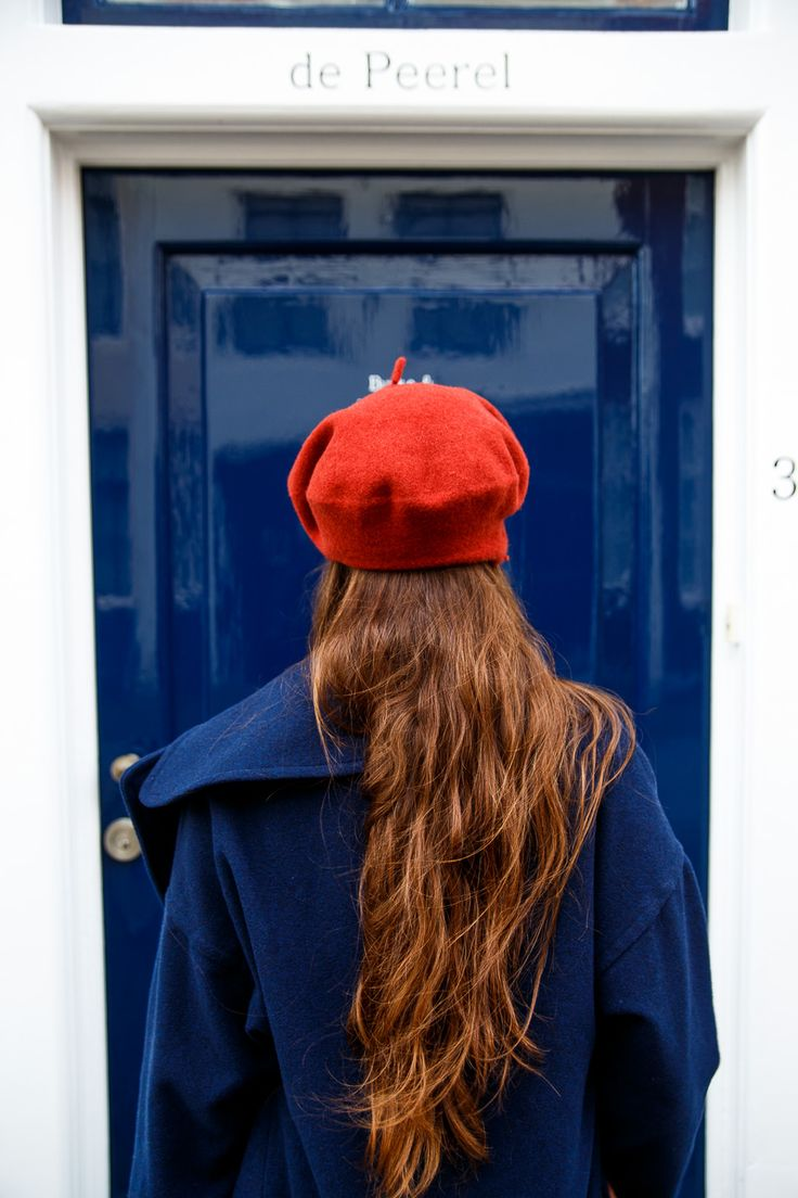 Blue winter coat and red beret | Bold Bliss