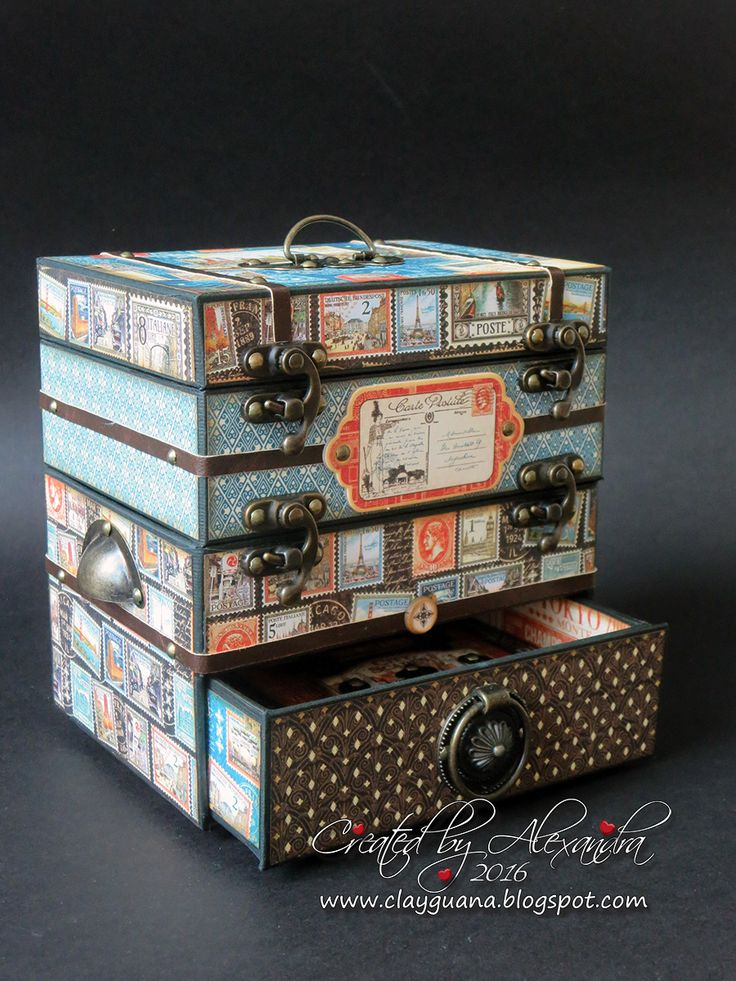 Graphic 45 Cityscapes, Graphic 45 2016 Design Team Audition, Clayguana, Vintage Trunk, Chipboard Trunk Tutorial, Vintage Suitcase tutorial, Chipboard suitcase DIY