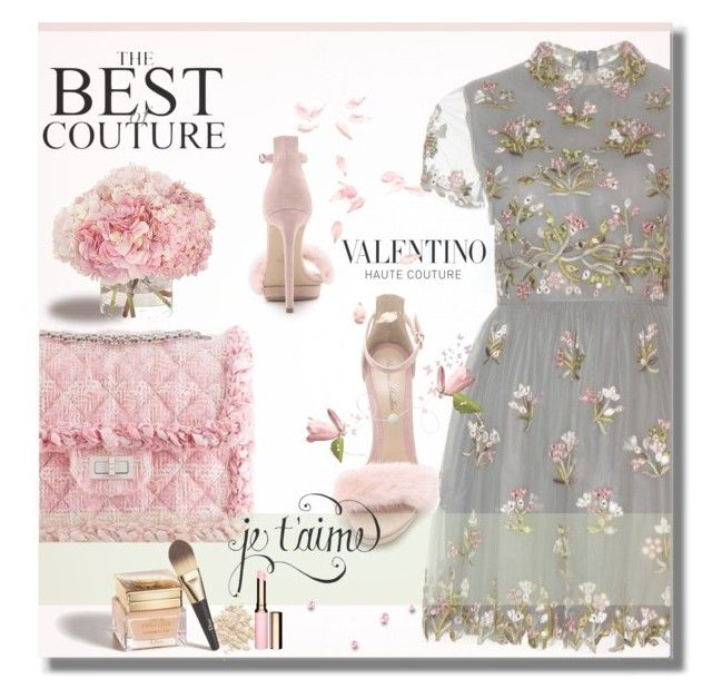 """""""je t'aime..."""" by desert-belle ❤ liked on Polyvore featuring Mode, Valentino, Monique Lhuillier, Chanel, Wildfox, INIKA, Christian Dior, Clarins, valentino und MoniqueLhuillier"""