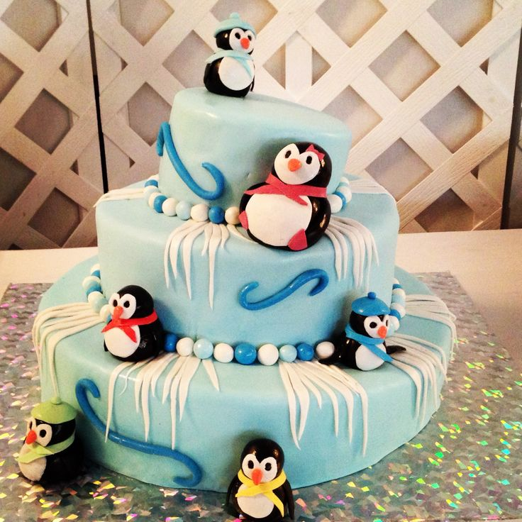 Penguin baby shower cake!! Created by Tito's Cakes