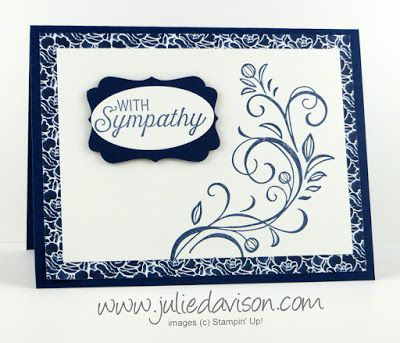 handmade sympathy card ... navy and white ... fourish ... luv the printed paper as wide mat ... Stampin' Up!