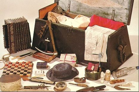 Sea chest contents 18th early 19th century (accordian would be 1840 though)