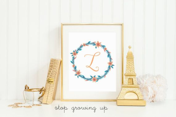 Beautiful Orange and Teal Flower Monogram | Perfect for an unconventional Orange and Teal Girl nursery! | Nursery Decor | Nursery Inspiration