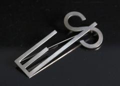 Silver custom made initials brooch by Wiwen Nilsson