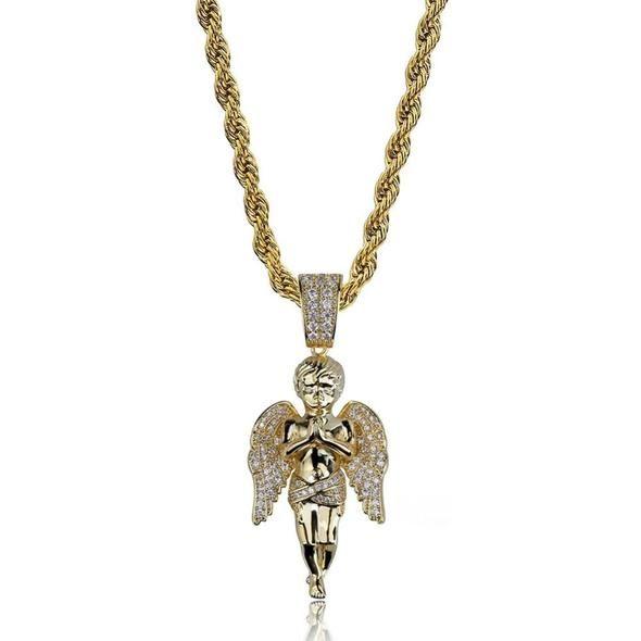 "Mens Hip Hop Gold  Praying Angel Micro Mini Pendant Charm 24/"" Chain"