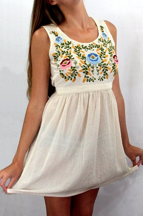 """Now available for Spring!  The """"La Mimosa"""" Mexican Embroidered Peasant Dress in Off White by Siren, $59.95"""