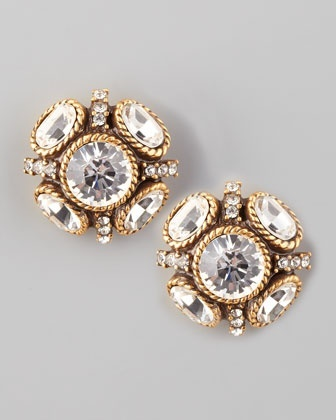 crstyal stud earrings | oscar de la renta