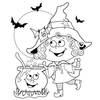 Witch colouring in pages - Free-N-Fun Halloween from Oriental Trading