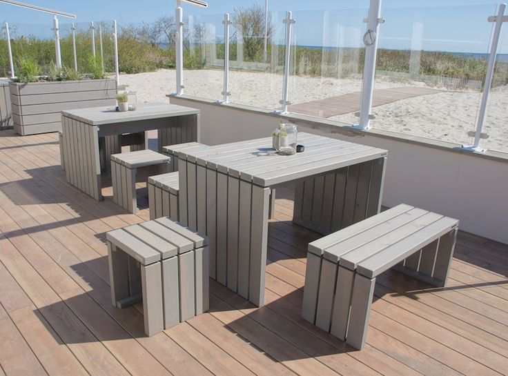 Gartenmöbel Set 1 + Hocker, wetterfestes Holz, Douglasie, Transparent Grau - www.holzweise.de