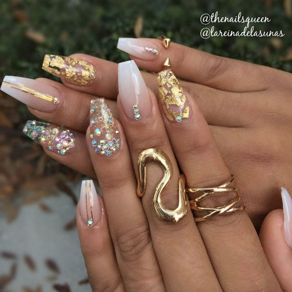 Gold foiled nails by Camila