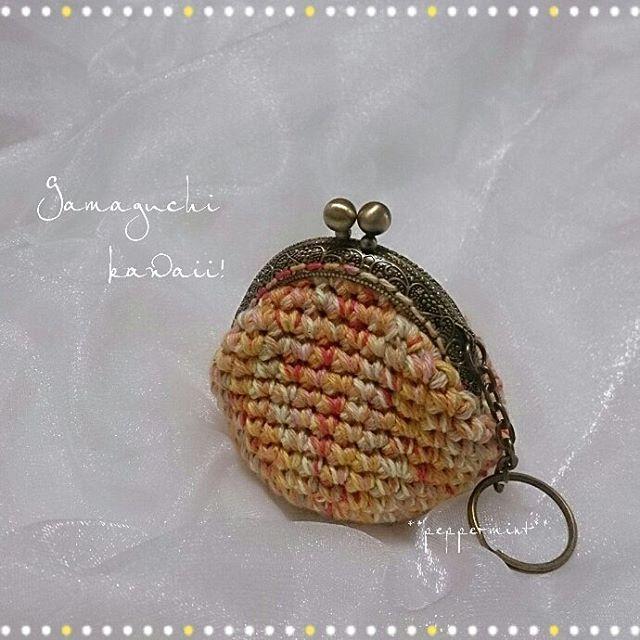 ●ちょっぴり憂鬱な日は  オレンジがまがまちゃん持って出掛けるのだ♪    オレンジパワーが  気分を明るく  してくれますyo♪ヽ(´▽`)/ (口金幅6.5cm)    #crochet #coinpurse   #gamaguchi #crochetlove   #crochetcoinpurse #handmade