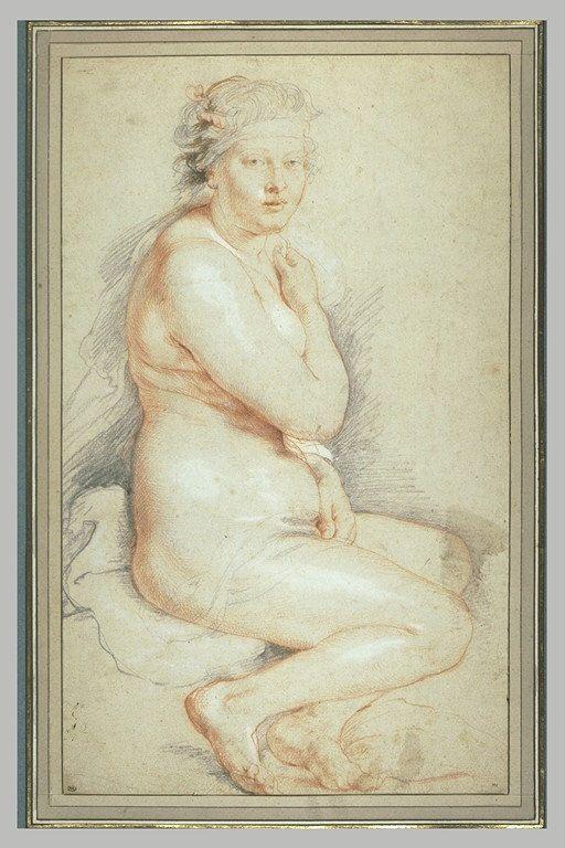 Inventaire du département des Arts graphiques - Jeune femme nue, assise, tournée…