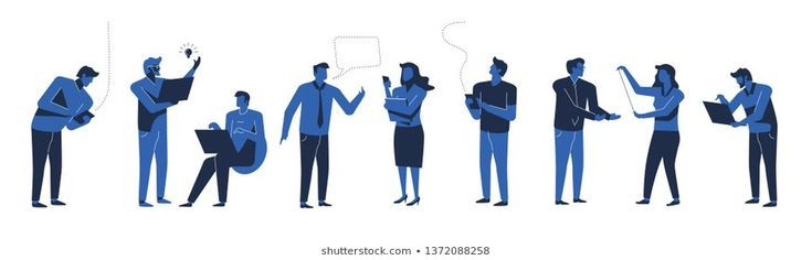 Business people silhouettes in two shades of blue color. Flat design illustration. #action, #background, #blue, #boss, #business,