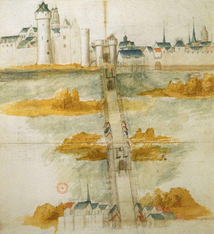 Le pont et le château de Tours du XI°° siècle, tels qu'ils subsistaient au XVII° siècle. - Aquarelle (Bibliothèque Sainte Geneviève, Paris)