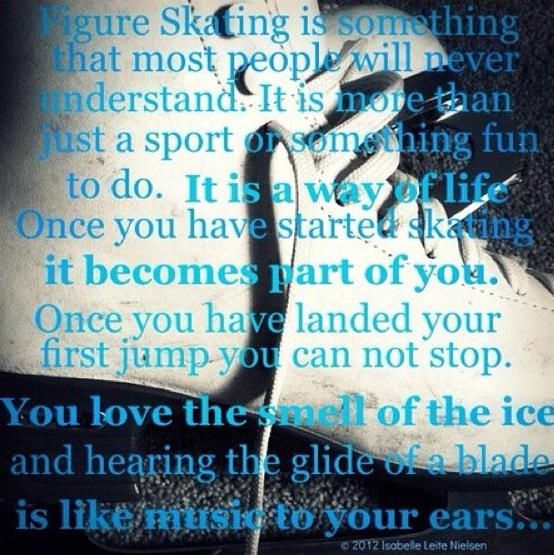 It is part of me. Figure skating