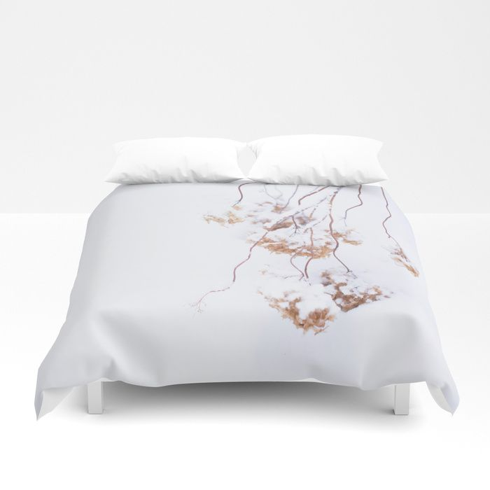Snowy Hydrangea On A Snow Background #decor #society6 Duvet Cover