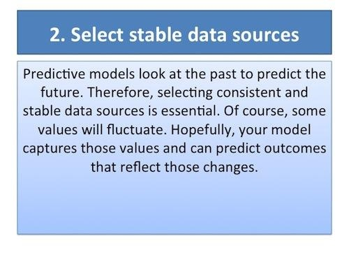 AllAnalytics - Olivia Parr-Rud - Slideshow: 10 Tips for Predictive Analytics Success. Tip #2 select stable data sources.: Olivia Parr Rud, Projects Success, Predictions Models, Stables Data, Data Sources, Analyt Success, Selection Stables, Predictions Analyt