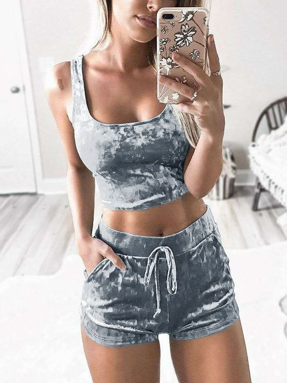 Grey Velvet Two Piece Outfits - US$15.95 2