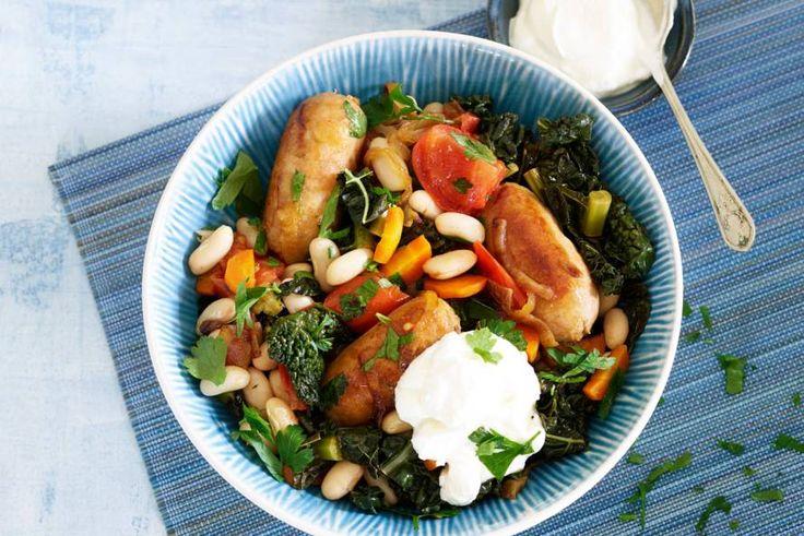 Kijk wat een lekker recept ik heb gevonden op Allerhande! Mediterrane stoof met Toscaanse worstjes en cavolo nero