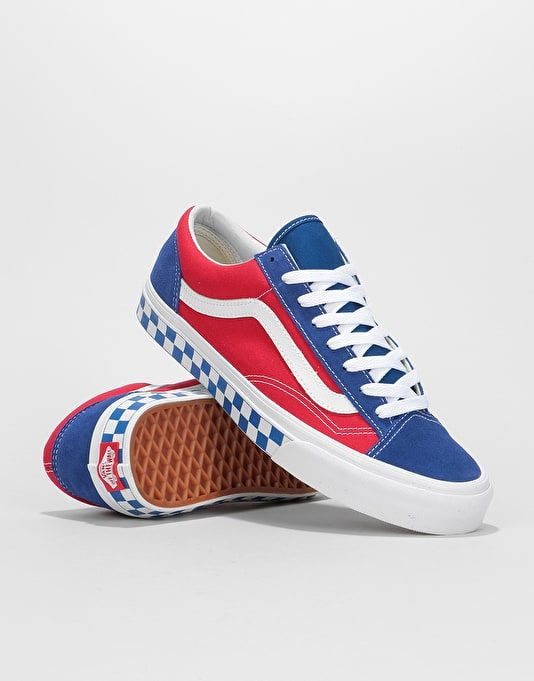 f386fa300fa Vans Style 36 Skate Shoes - (BMX Checkerboard) True Blue Red ...