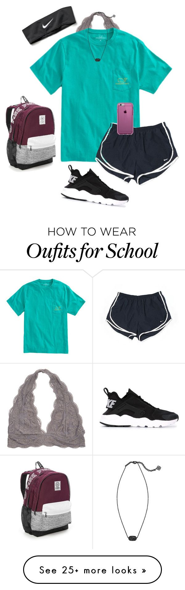 """""""who doesn't want 2 go 2 school tom.?"""" by sarah-grace-m on Polyvore featuring NIKE, Victoria's Secret, Kendra Scott and Speck"""