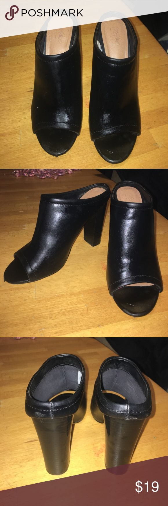 """Black leather open-toed heels Black leather pee-toe heels! Heel length is about 4"""", I got them from target for $35. Just looking for s different style! They're marked as a size 7.5 but I usually wear a 7 Mossimo Supply Co. Shoes Mules & Clogs"""