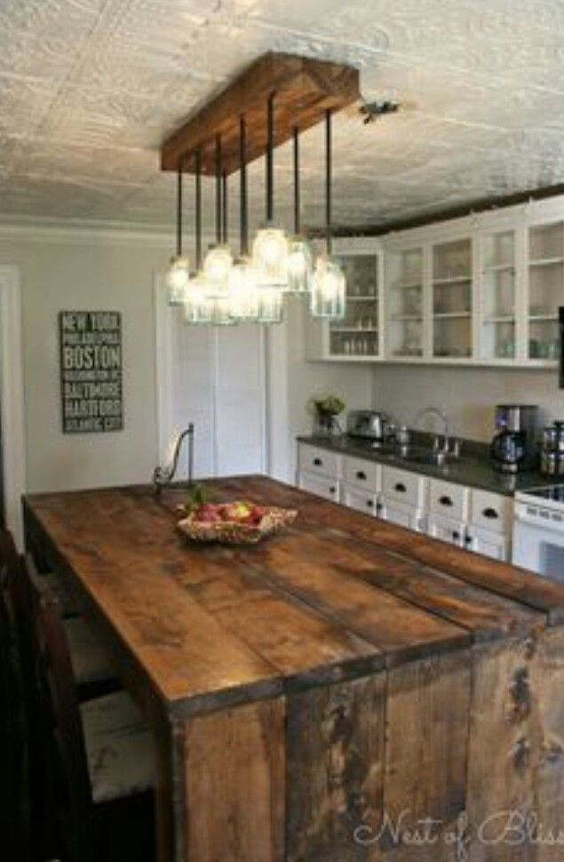 Rustic kitchen island mason jar lighting tin for Mason jar kitchen ideas