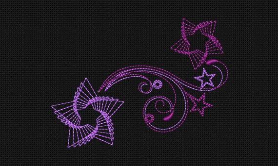 Machine Embroidery Design Swirls Stars 5x7 In Instant Download