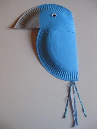 Perroquet assiette en carton comme Blu dans le dessin animé rio