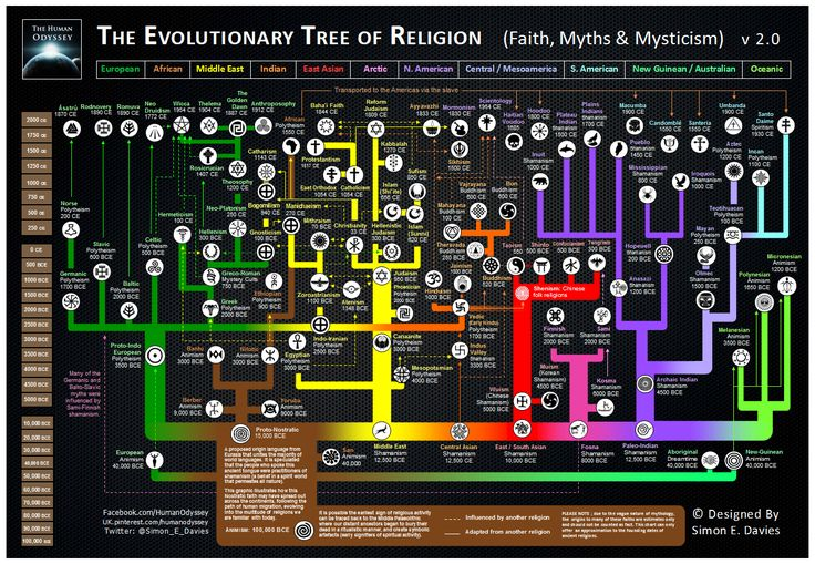 The Evolutionary Tree of Religion Map by Simon E. Davies - World Religion News (haha it's set up like a phylogeny... I can get that lol)
