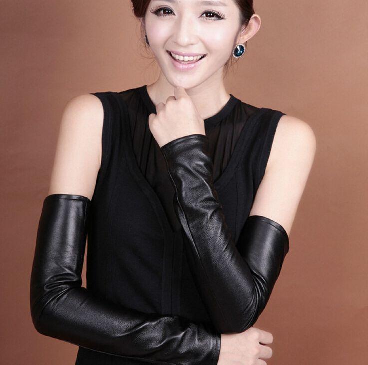 Черный натуральная кожа подогреватели руку женщины зима теплая перчатки велоспорт рукав рука муфт подходит для вождения длинные муфты, принадлежащий категории Митенки и относящийся к Одежда и аксессуары на сайте AliExpress.com | Alibaba Group