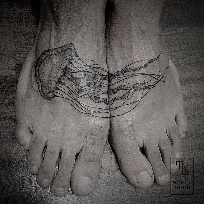 Line Drawing Tattoo Artists : Jellyfish foot tattoo pinterest