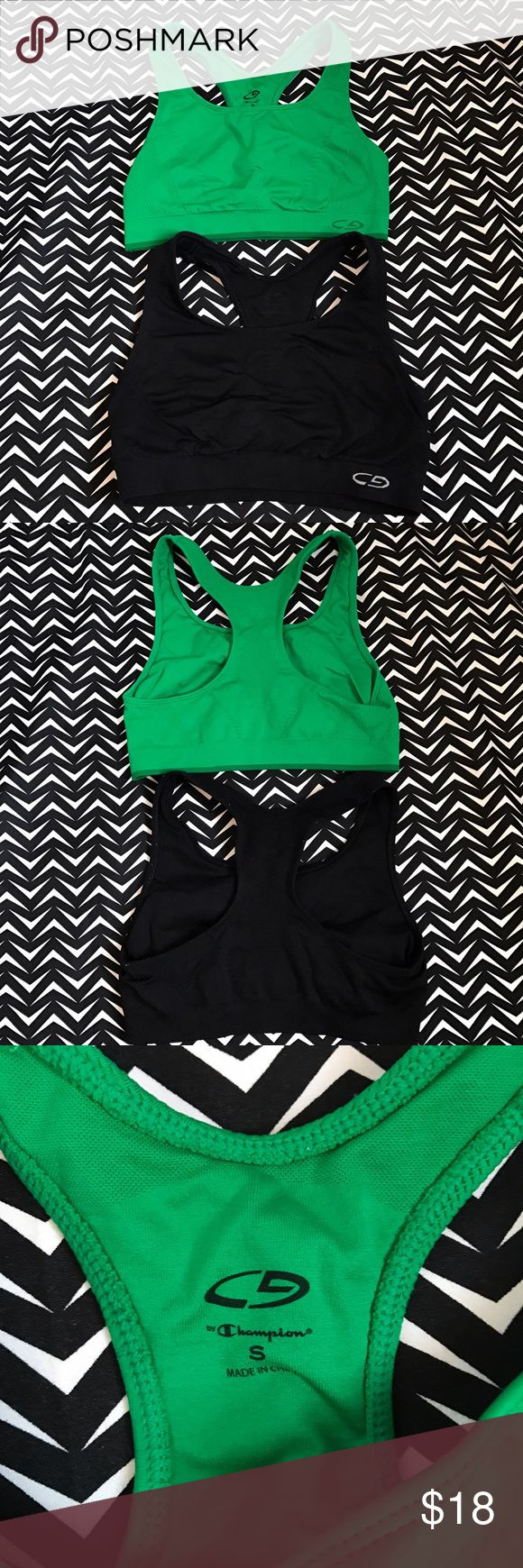 2 champion sports bras bundle Great used condition champion sports Bras. 1 green 1 black. Both size small. Super comfy!! No padding Champion Intimates & Sleepwear Bras