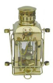 Cargo-Lampe Messing, Petroleumbrenner, H: 25cm