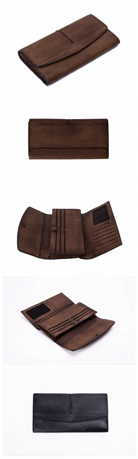 Vintage Style Genuine Natural Leather Wallet, Long Wallet, Men's Wallet 9056