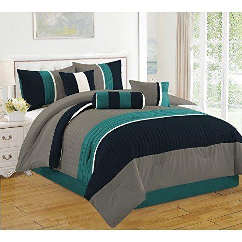 California King Bed in a Bag Microfiber Luxury Comforter Set 7 Piece Teal New #JBFF
