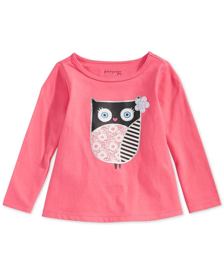 First Impressions Baby Girls' Long-Sleeve Surprised Owl T-Shirt, Only at Macy's