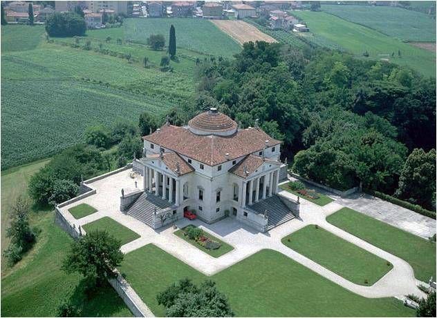 Plan from the air. Arth 340: Discussion: Palladio, Villa La Rotonda, Vicenza, begun ...