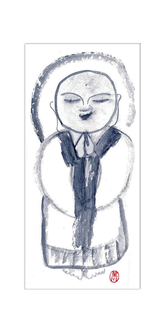 Jizo Buddha Painting Buddhist art Zen Brush Sumi-e Ink by ZenBrush