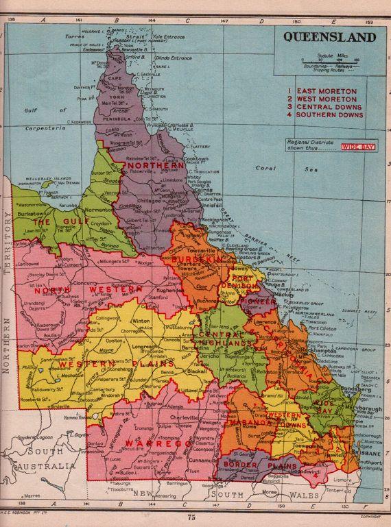 Sale QUEENSLAND AUSTRALIA map 1940s vintage by theStoryOfVintage