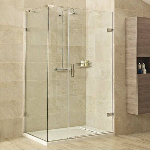 #Roman Showers - Liber8 frameless rectangular #shower enclosure. 900x1200mm with hinged shower and nickel finish components. Lifetime gurantee with 8mm glass. Now £1089 with free UK & Ireland delivery.
