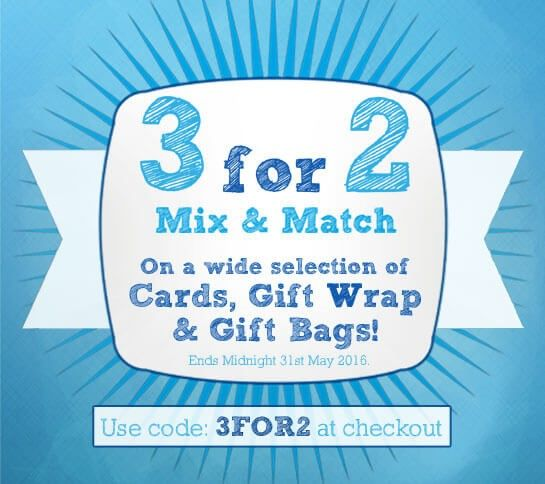 3 for 2 on great selection of greeting cards, gift wrap and gift bags. Only valid till end of May 2016. Have a look now at the great ranges we do at http://bit.ly/3FOR2OFFER