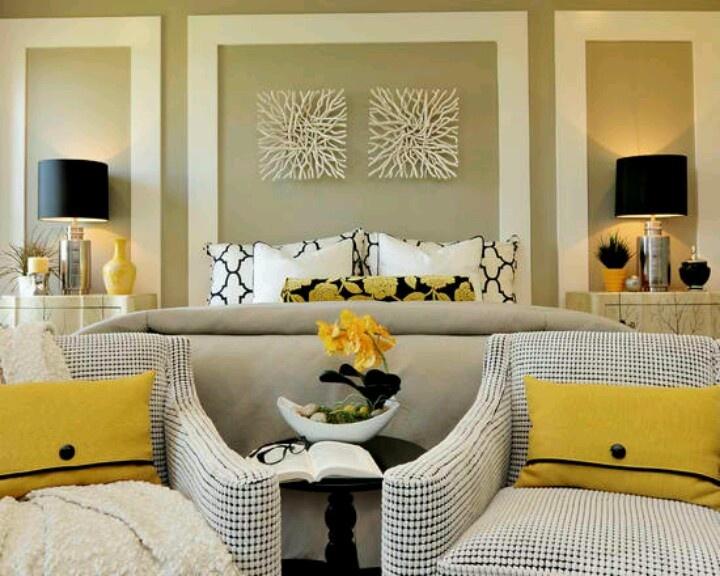 Yellow black white bedroom bedroom ideas pinterest stylish bedroom white bedrooms and - Yellow accents in interior design ...